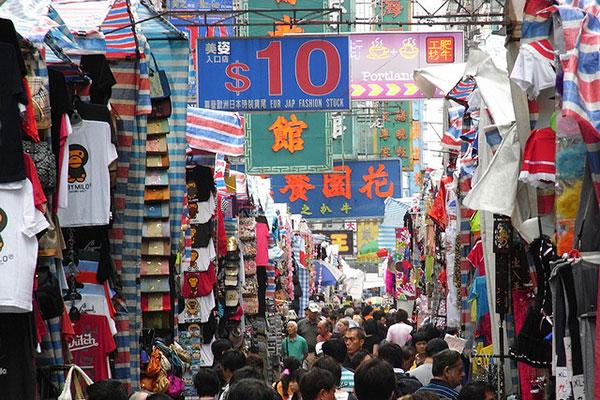 Hình ảnh 1 góc khu chợ tấp nập bên Trung Quốc